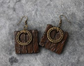 Handmade Antique Wood Earrings