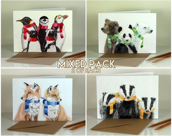 Mixed Winter Animals. Blank greeting cards. Pack of 8 (2 of each design)