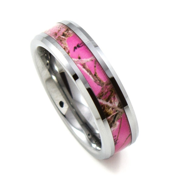Pink Camo Rings For Her: Ladies Pink CAMO Thin 6MM Tungsten Band Beveled By