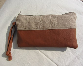 double colour pochette hand bag clutch - medium brown real leather and beige tissue