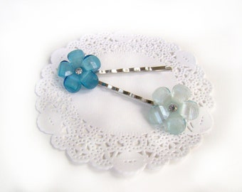 Flower Bobby Pins, Girl Easter Basket Gift, Matching Bobby Pin Set, Jewel Bobby Pins, Wedding Hair Pins, Summer Bobby Pin Set