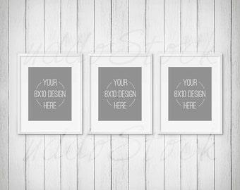 8x10 Wall Frames set of 3 black frames for wall art display mockup wood
