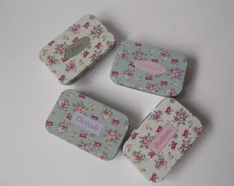 Vintage style floral haberdashery tin, button, pin, thread, bobbin