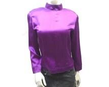 Purple Silk Blouse, Magenta Avante Garde,Long Sleeve Mock Turtleneck Designer Top