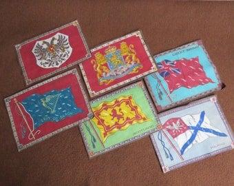 Six Vintage tobacco premium cotton flannel flags of Scotland, Great Britain, Neatherland, Ireland, Austria, & Poland