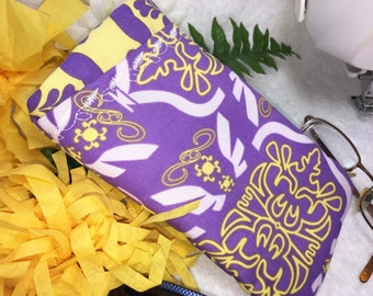 Double Glasses Case, Quilted w/ Embroidery, Protective Padded Center Divider, Slip Style, Thickly Padded, Purple, Lavender, Yellow