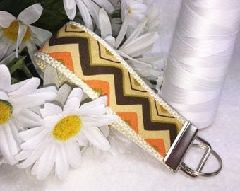 Popular Chevrons, Fabric Key Fob, Brown Orange Cream Wristlet Keychain, Fabric Keyring, Affordable Mother's Day Gift