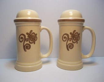 """Pfaltzgraff Village LARGE Stove Top Salt, Pepper, Cheese, Spice Shakers, 6-1/2"""" Tall, Exc. Cond, USA #7-56 - 2 AVAILABLE"""