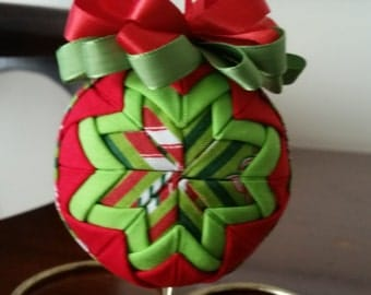 Red, Chartreuse White Centered Quilted Ornament with Chartreuse and Red Ribbon