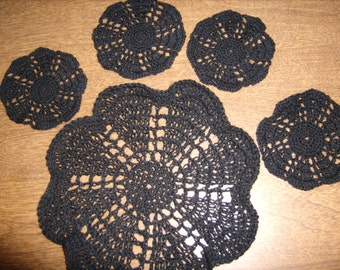 Thread crochet coaster and doily set