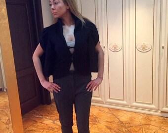jacket/black jacket/estravagant jacket/cashmere jacket/jacket with zipper