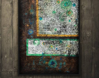 """Hand-Painted Artwork """"Letter E"""",Vintage-Mixed Media-Textured Art-Colorful-Rustic Style-Industrial Style-Handmade-Light textured-Abstract Art"""