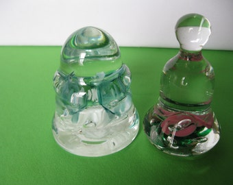 Joe St. Clair Glass Paperweights Pink Flowers Bell and Blue Insulator Made in USA