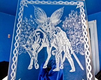 Knight and Faerie Princess Etched Mirror