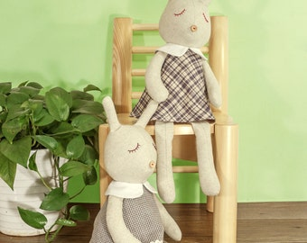 Dressed Bunny - PDF Sewing Pattern & Tutorial  / Easter Gift / Softie / Toy / Doll / Stuffed animal / Rabbit