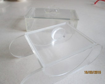 LUCITE lidded boxes -two. c1950s