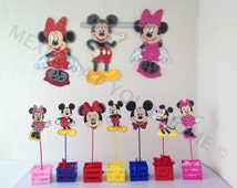 Mickey Mouse and Minnie Mouse Party Combo -3 Wall Decor 12 Favor Bags and 12 Centerpiece picks Ideal for party decoration or wall decoration