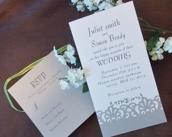 10 wedding invitation cards with envelope