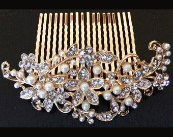 Stunning Pearl & Diamante Crystal Hair Comb Gold Plated Bridal Hair Piece Wedding Hair Slide Tiara Vintage Style Fascinator Party Prom - 30G