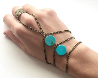 Bohemian Hand Chain Turquoise Hand Chain Boho Hand Bracelet Slave Bracelet Hand jewelry Bohemian Jewelry Turquoise Bracelet Boho Chic Jewels