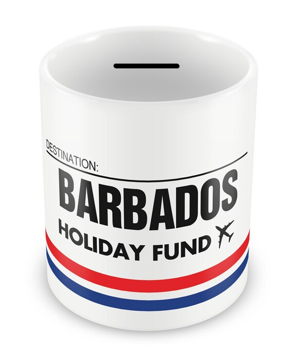 Barbados holiday fund money box piggy bank savings for Travel fund piggy bank