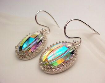 Hanging earrings sterling silver rhinestone vintage pendant earrings hill tribe silver