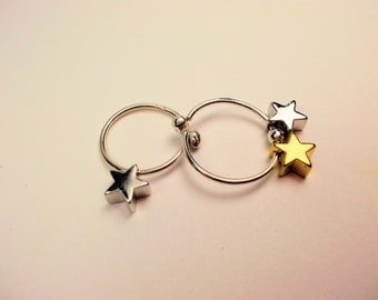 Small hoops sterling silver handcrafted with stars sterling silver and gold silver earrings