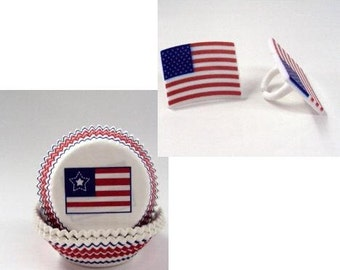 15 American Flag Rings with American Flag Baking Cups