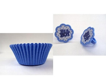 It's a Boy Rings with 12 Light Blue Baking Cups