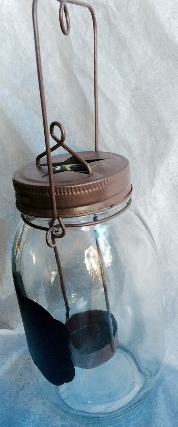 Glass jar Candle Holder Home decor Shabby Country Chic