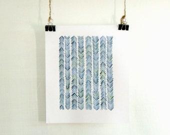 Blue Chevron Watercolor Print