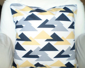 Yellow Gray Pillow Covers, Decorative Throw Pillow, Cushions Saffron Yellow Charcoal Grey Couch Bed Pillow, Geometric, One or More All Sizes