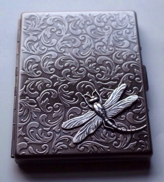 Steampunk dragonfly cigarette case large business card holder for Steampunk business card holder