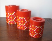 Vintage Orange Storage Tin Set