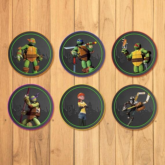 Teenage Mutant Ninja Turtles Cupcake Toppers Chalkboard *TMNT Stickers* TMNT Birthday Printables * Teenage Mutant Ninja Turtles Party Favors
