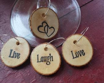 Wood Slice Live, Laugh, Love Wine Charms