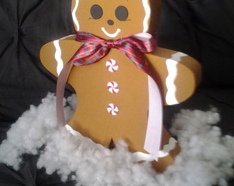 Handpainted 3D cardboard gingerbread man