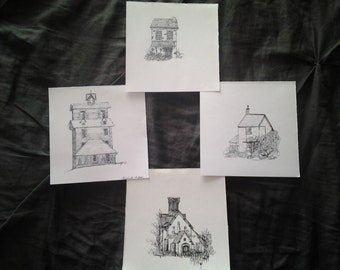 Tiny cottages ink sketches