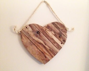 Rustic Valentine's Heart (Natural Wood) from Reclaimed Wood- Available in Pink. Red, and White
