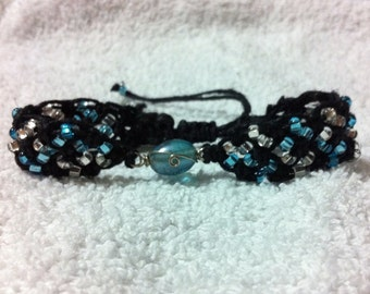 Hand Tied Black Hemp Bracelet with Blue and Clear Glass Beading