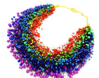 Rainbow multicolor airy necklace, crochet, beading, gift for her, multistrand, colorful