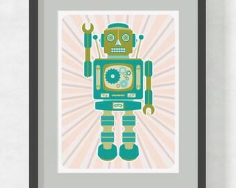 Robot Print / Robot Poster / Retro Robot / Large Art Print / Robot Trevor