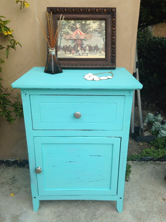 shabby chic aqua blue floor cabinet by atuckerstreasures on etsy. Black Bedroom Furniture Sets. Home Design Ideas