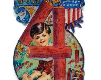 4th of July Ornament Decoration, Vintage Imagery Blue Red Glitter Sparkles, Patriotic American Flag Fireworks Boy Recycled OOAK Ephemera
