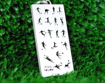 Colgante de plata con imágenes de futbolistas calados
