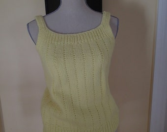 Vintage Sunny Yellow, Handmade Yellow Knitted Tank/Top/Sweater.  So cute!
