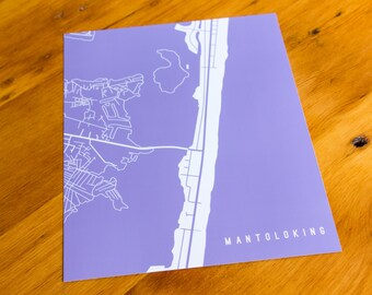 Mantoloking, NJ - Map Art Print  - Your Choice of Size & Color!