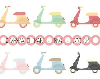 Digital Vespa Scooter Moto Retro Vintage Clipart Printable Instant Download PNG Scrapbooking Sticker Invitation Cards Commercial use