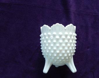 Vintage Fenton Hobnail White Milk Glass Three Legged Vase