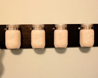White mason jar organizer